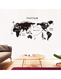 Creative Black Map Pattern Decorated Simple Design Wall Sticker  Pvc Household goods