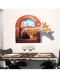 Creative Brown 3d Giraffe Pattern Removable Design  Pvc Household goods