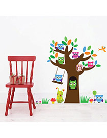 Creative Multicolor Owl & Tree Pattern Removable Design Wall Sticker  Pvc Household goods