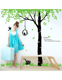 Creative Green+black Bird&tree Pattern Decorated Simple Design Wall Sticker  Pvc Household goods