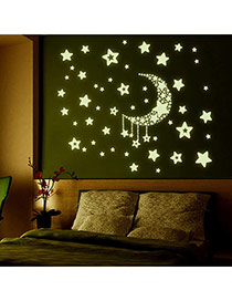 Creative Green Luminous Moon&stars Pattern Simple Design Wall Sticker Pvc Household goods