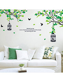 Creative Black+green Tree&birdcage Removable Design Wall Sticker