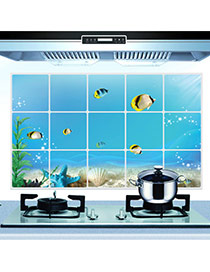 Creative Blue Fish Pattern Removable Anti-oil Paste Wall Sticker