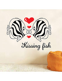 Creative Black+red Kissing Fish Pattern Simple Design Wall Sticker  Pvc Household goods