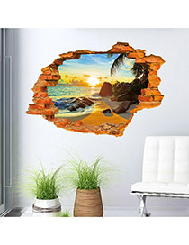 Creative Multicolor 3d Sandy Beach Pattern Simple Design Wall Sticker  Pvc Household goods