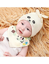 Cute Light Yellow Cartoon Pattern Decorated Simple Design Fabric Children's Hats
