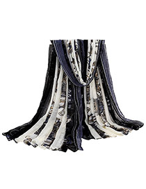 Retro Dark Blue Carriage Pattern Decorated Simple Design  Cotton Thin Scaves