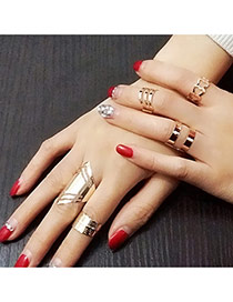 Retro Gold Color Hollow Out Helmet Shape Simple Design(5pcs) Alloy Korean Rings