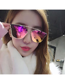 Simplicity Red Irregular Geometrical Frame Decorated Thin Leg Design  Alloy Women Sunglasses