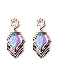 Luxury Multi-color Diamond Decorated Irregular Geometrical Shape Design Alloy