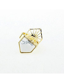 Personality White Hollow Out Geometric Shape Decorated Simple Design Alloy