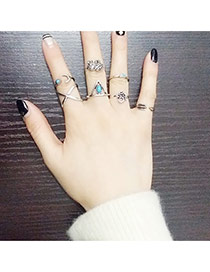 Personality Silver Color Geometric Shape Decorated Simple Design(7pcs) Alloy Korean Rings