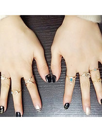 Personality Gold Color Geometric Shape Decorated Simple Design(7pcs) Alloy Korean Rings