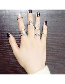 Retro Silver Color Geometric Shape Decorated Double Layer Design(7pcs) Alloy Korean Rings