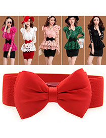 Elegant Red Big Bowknot Decorated Pure Color Design  Leather Wide belts