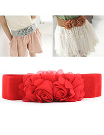 Elegant Red Double Flower Decorated Pure Color Design  Leather Wide belts