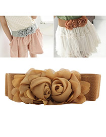 Elegant Brown Double Flower Decorated Pure Color Design  Leather Wide belts