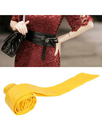 Fashion Yellow Pure Color Swallow Tail Shape Design  Leather Wide belts