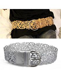 Retro Silver Color Pure Color Hollow Out Flower Design  Alloy Wide belts