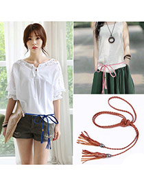Retro Brown Rope Weave Pure Color Taseel Pendant Design  Alloy Thin belts