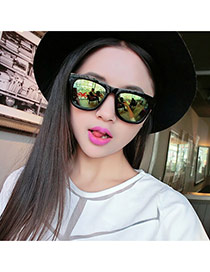 Fashion Green Square Frame Decorated Simple Design Plastic Women Sunglasses