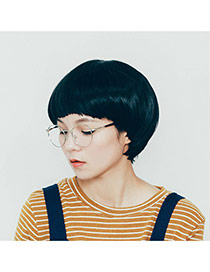 Simplicity Silver Color Round Shape Frame Decorated Thin Leg Design Alloy Fashon Glasses