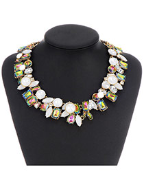 Fashion White+green Diamond Matching Decorated Double Layer Design Alloy Bib Necklaces