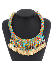 Retro Blue+multicolor Coins Decorated Tassel Design Plastic Bib Necklaces