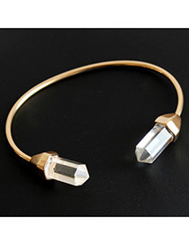 Fashion Gold Color Gemstone Decorated Opening Design  Alloy Fashion Bangles