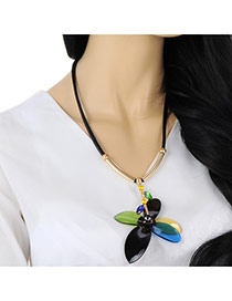 Personality Black+blue Flower Pendant Decorated Simple Design Mn Acrylic Bib Necklaces