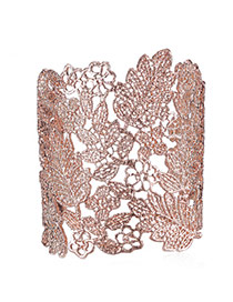 Personality Rose Gold Leaf Pattern Decorated Hollow Out Design