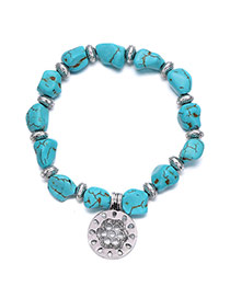 Personality Blue Round Pendant Decorated Irregular Design Alloy Fashion Bracelets