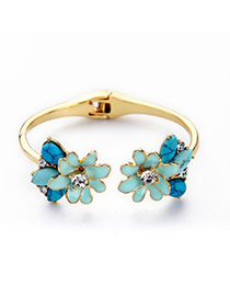 Fashion Blue Flower Decorated Opening Design Alloy Fashion Bangles