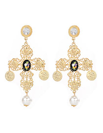 Vintage Gold Color+black Coin+gemstone Decorated Cross Shape Design Alloy Stud Earrings