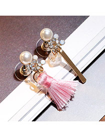 Sweet Pink Tassel Decorated Asymmetry Design  Alloy Stud Earrings