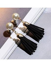 Sweet Black Pearl Decorated Tassel Design  Alloy Stud Earrings