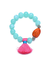 Ethnic Green Stone&tassel Pendant Decorated Beads Chain Design  Alloy Fashion Bracelets