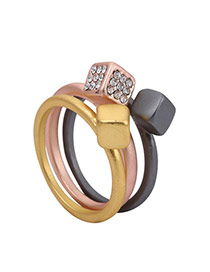 Fashion Multi-color Diamond Decorated Three Layer Design  Alloy Fashion Rings