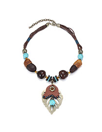 Fashion Coffee Leaf Shape Pendant Decorated Beads Weaving Chain Design Alloy Bib Necklaces
