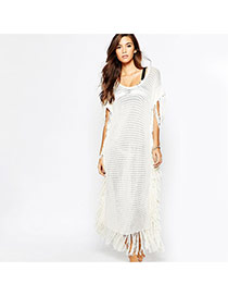 Sexy White Tassel Decorated Knitting Hollow Out Design Bikini Cover Up Smock