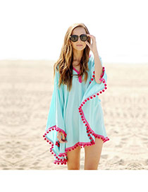 Sexy Blue Ball Decorated V-neck Loose Design Bikini Cover Up Smock
