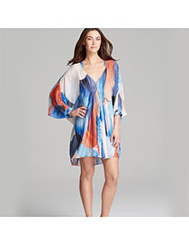 Sexy Multicolor Long Sleeve Color Matching Pattern V-neck Loose Design