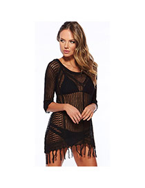 Sexy Black Tassel Decorated Knitting Hollow Out Design Bikini Cover Up Smock  Cotton Swimwear Accessories