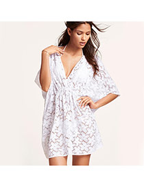 Sexy White Pure Color Flower Pattern V-neck Design Bikini Cover Up Smock