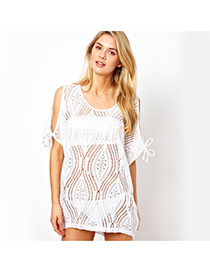 Sexy White Flower Pattern Hollow Out Strapless Design Bikini Cover Up Smock  Lace Swimwear Accessories