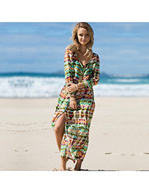 Sexy Multicolor Long Sleeve Graffiti Patten Cardigan Design Bikini Cover Up Smock Chiffon Swimwear Accessories