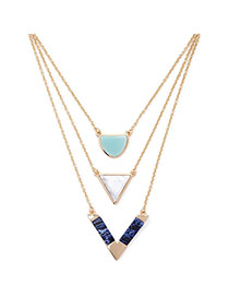 Trendy Gold Color Triangle Pendant Decorated Multilayer Design
