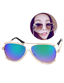 Personality Green Thin Leg Metal Frame Hollow Out Design Acrylic Women Sunglasses