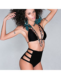 Trendy Black Bandage High Waist Simple Design  Polyester Sexy Bikini