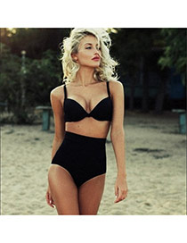 Trendy Black Pure Color High Waist Simple Design  Polyester Sexy Bikini